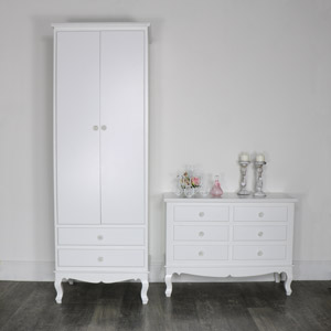 White Bedroom Set, Wardrobe  and Chest of Drawers  - Lila Range