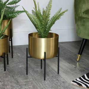 Round Gold Plant Stand - Medium