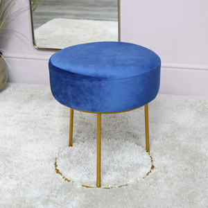 Blue Velvet Stool with Round Gold Base