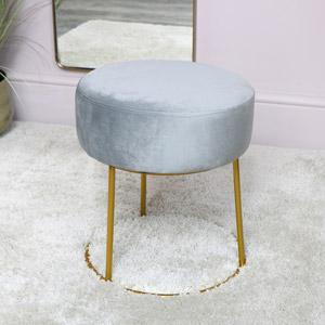 Grey Velvet Stool with Round Gold Base