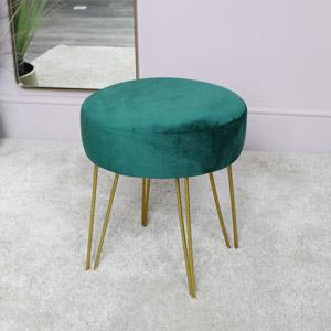 Green Velvet Stool with Gold Hairpin Legs