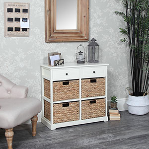 Cream Wicker 6 Drawer Storage Unit - Hereford Cream Range