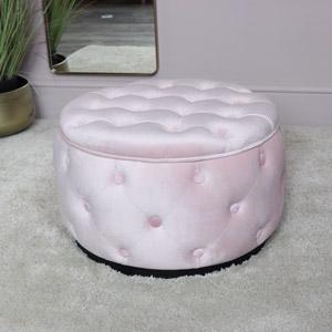 Pink Velvet Buttoned Footstool