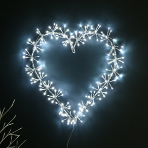 Large Silver LED Heart Christmas Decoration
