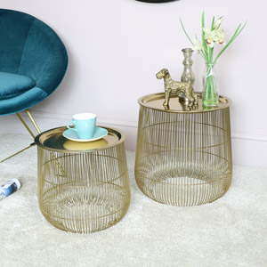 Pair of Gold Side Tables