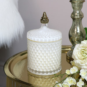 White & Gold Glass Candle Pot