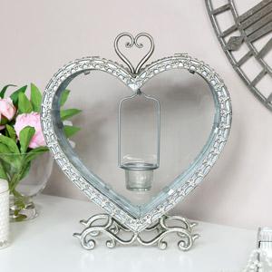 Silver Heart Tealight Lantern