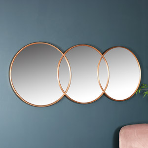 Copper Circle Wall Mirror 150cm x 45cm