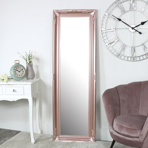 Tall Rose Gold Pink Wall Mirror