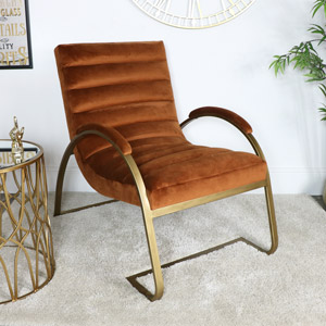 Orange & Gold Ribbed Velvet Chair