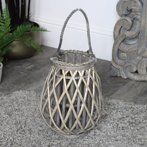 Rustic Wicker Candle Lantern