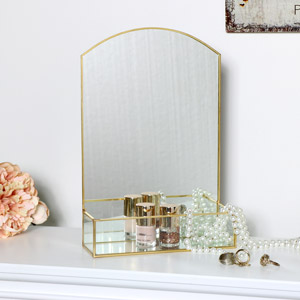 Gold & Glass Arched Table Mirror