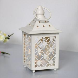 Cream Metal Tealight Lantern - Battery Operated