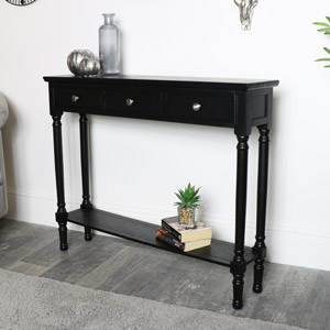 Black Console Table with Shelf