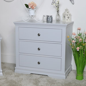 Grey 3 Drawer Bedside Chest of Drawers - Newbury Grey Range