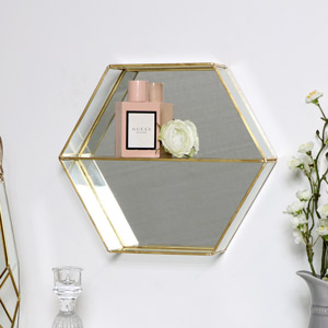 Gold Hexagon Mirror Display Shelf
