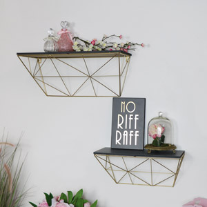 Pair of Grey & Gold Wall Shelves