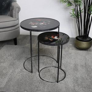 Pair of Black Floral Side Tables
