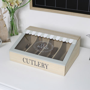 Vintage Wooden Cutlery Storage Box