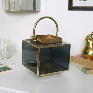 Black and Gold Glass Metal Candle Lantern