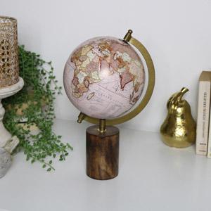 Pink Wooden World Globe