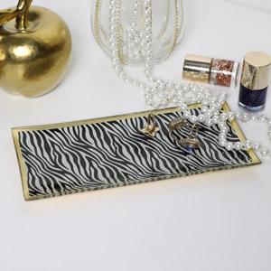 Zebra Print Glass Trinket Tray