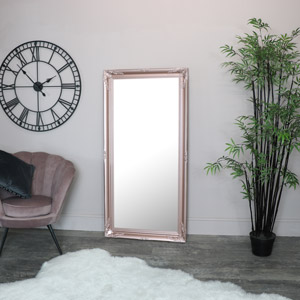 Large Rose Gold Pink Ornate Wall/Floor Mirror