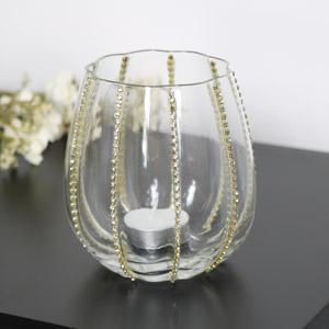 Gold Diamante Glass Tealight Holder
