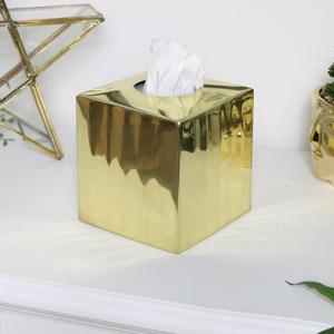 Ribbed Gold Metal Tissue Box