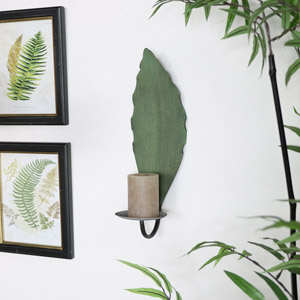 Green Metal Leaf Wall Sconce