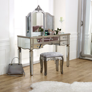 Large Mirrored Dressing Table, Mirror & Stool Set - Tiffany Range