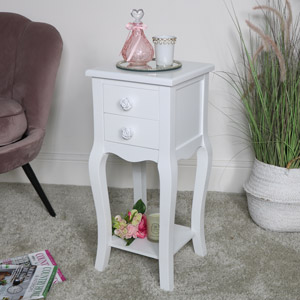 Slim White 2 Drawer Bedside Table - Lila Range