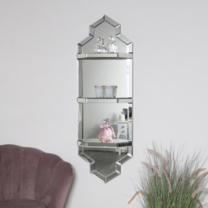 Art Deco Mirrored Wall Shelf Unit