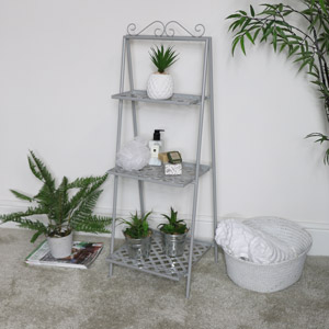 Grey Metal 3 Tier Vintage Plant Stand Shelf