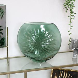 Green Glass Daisy Vase