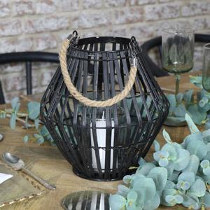 Black Rattan Convex Candle Lantern