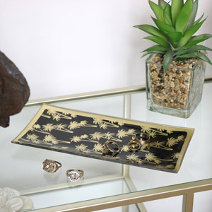 Black & Gold Palm Tree Print Glass Tray
