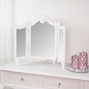 Large White Ornate Rose Triple Mirror - 55cm x 75cm