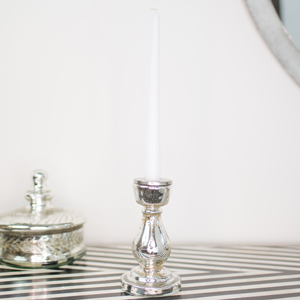 Silver Metallic Curved Candle Holder