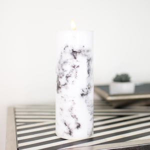 Large LED Marble Candle