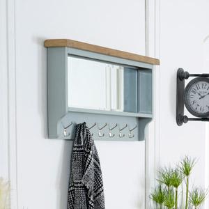 Grey Wall Mirror with Coat Hooks - Rochford Range