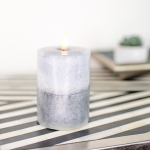 Small LED Grey Candle