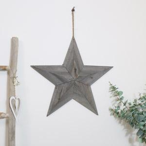 Large Grey Wooden Barn Star 58cm x 58cm