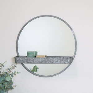 Grey Industrial Round Mirror with Shelf 61cm x 61cm