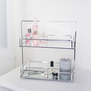 Tall Silver Mirrored 2 Tier Storage Caddy