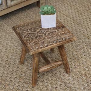 Rustic Boho Wooden Stool