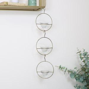 Gold Triple Circle Hanging Tealight Holder