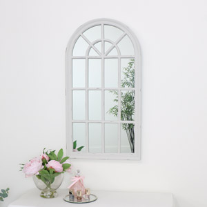 Large Cream Arched Window Wall Mirror 46cm x 86cm
