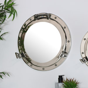 Nautical Porthole Wall Mirror in Silver - 38cm x 38cm