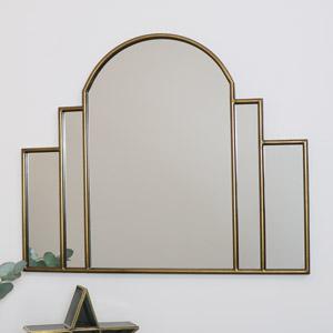 Large Gold Art Deco Arch Fan Mirror 80cm x 65cm